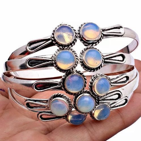 Natural Opalite Gemstone 925 Bangle Bracelet