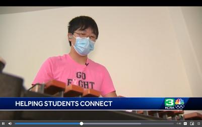 Tutor Drew Liu teaching a percussion lesson during an ALTO TV feature