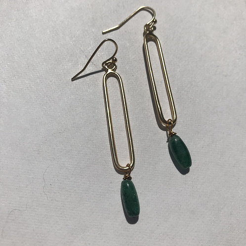 Green Aventurine Earrings with gold tone