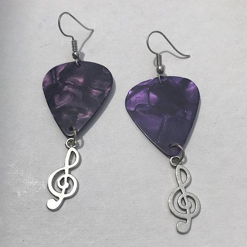Purplicious guitar pick earrings