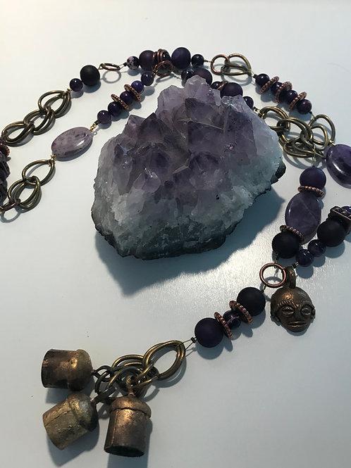Amethyst, purple crackle agate Ghana necklace