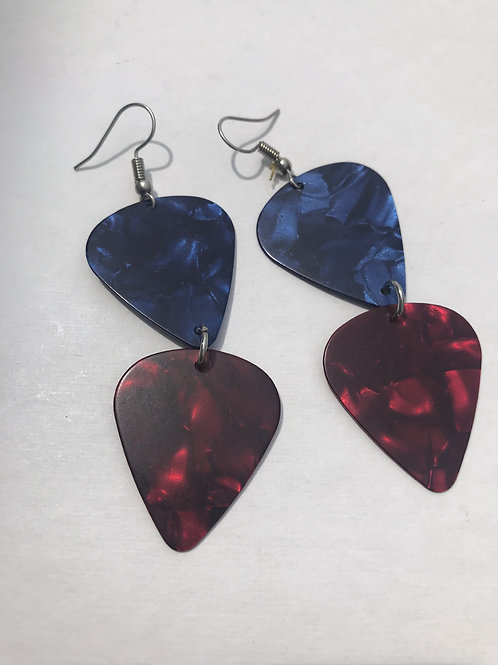 Patriotic guitar pick earrings