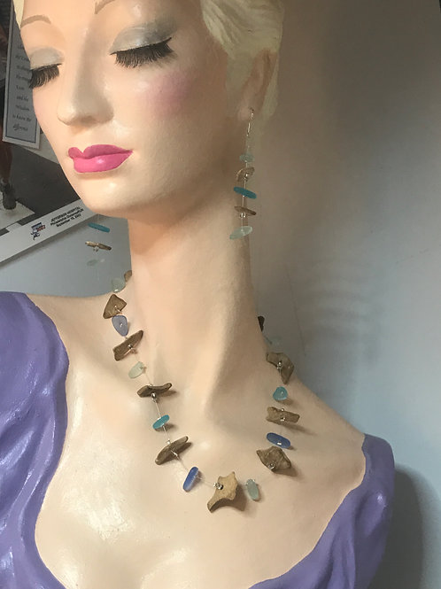 Driftwood and Sea Glass Necklace and Matching Earrings