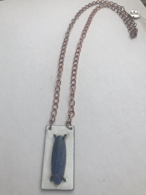 Lapis against white enameled copper