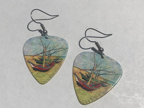 Fishing Boats on the Beach at Saintes-Maries earrings