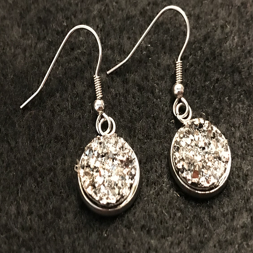 Faux Silver Drusy earrings