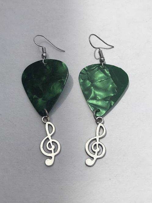 Metallic green guitar pick earrings