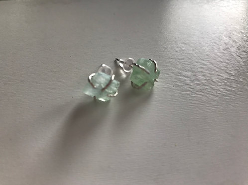 Green Calcite Stud Earrings