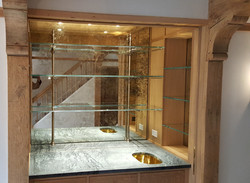 antique mirror and shelving