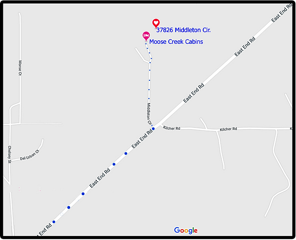 Google Map to Moose Creek Cabis