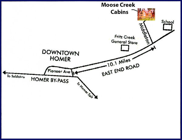 Map to Moose Creek Cabins