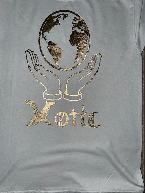 White and gold XOTIC World shirt