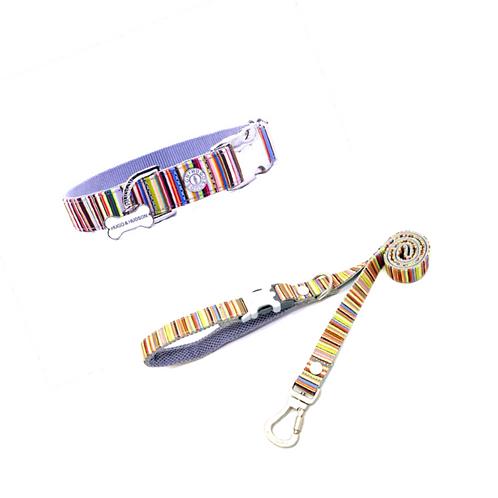 Hugo & Hudson Multicolour Stripe Collar and Lead Set
