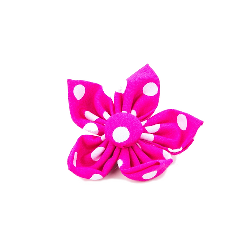 Pet Pooch Boutique Flower Collar Accessory - Pink Polka Dot