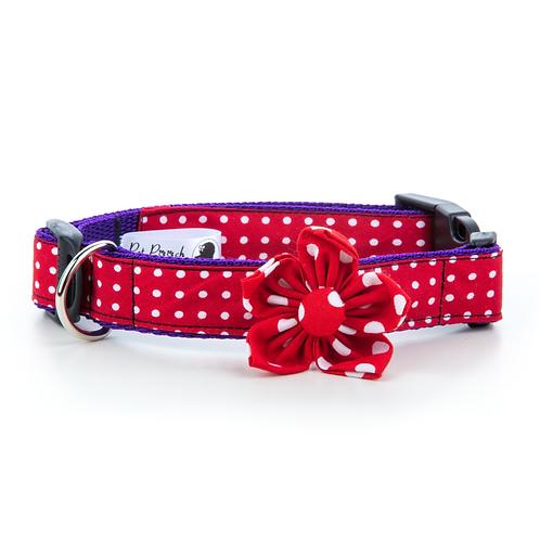 Pet Pooch Boutique Red Polka Dot Flower Collar - Medium