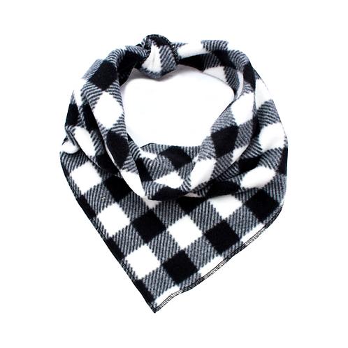 Pet Pooch Boutique Black Jack Check Fleece Bandana - Small / Medium