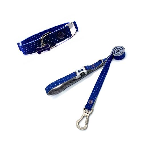Hugo & Hudson Blue Polka Dot Collar and Lead Set