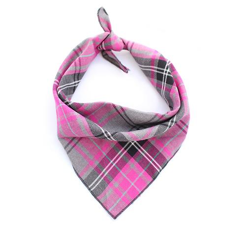 Pet Pooch Boutique Pink Tartan Bandana - Small / Medium