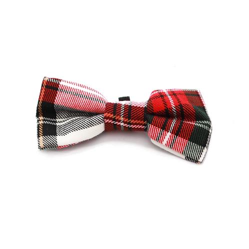 Pet Pooch Boutique Alfies Plaid Bow Tie - Red / White