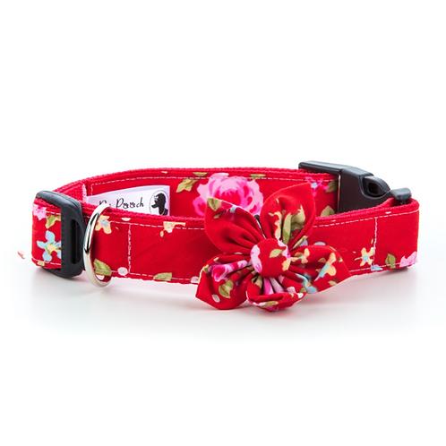 Pet Pooch Boutique Red Vintage Flower Collar - Large