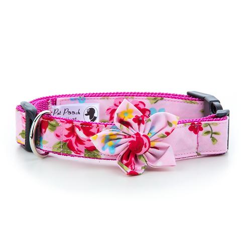 Pet Pooch Boutique Pink Vintage Flower Collar - Large