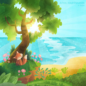 Hyland's Coastal Background - art by April Hartmann - illustration for animation.