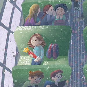The Bus Ride, art by April Hartmann - When Victoria wins the School Spelling Bee, she doesn't like being in the spotlight. Is she brave enough to take pride in her win, and try her best in the state finals? This story is available for publication. Please contact for more information.