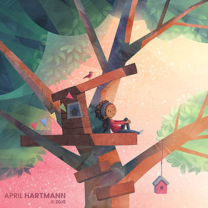 Alone Time - Treehouse art by April Hartmann - This work is available for licensing. Please contact for more information.