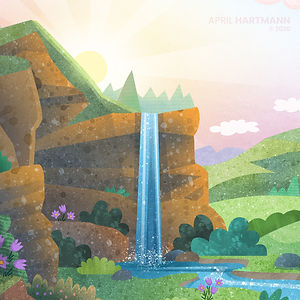 Hyland's Mountain Background - art by April Hartmann - illustration for animation.