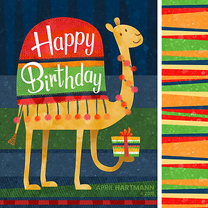 Birthday Camel - art by April Hartmann - This work is available for licensing. Please contact for more information.