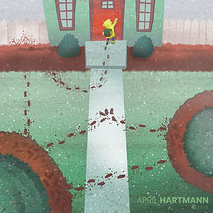 Muddy - by April Hartmann - Stomp, stomp through the swamp. Hop, hop through the slop. Step, step to the door. Run, run across the floor. ​
