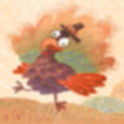 Turkey Time - art by April Hartmann - It's almost Turkey Day!   None of the other animals have a day named just for them.  Mr. Turkey is so excited to see what will happen on his special day. This story is available for publication. Please contact for more information.