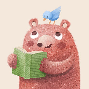 Bear Reading - art by April Hartmann - This work is available for publication or licensing. Please contact for more information.