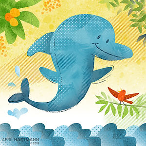 Dolphin and Bird - art by April Hartmann -This work is available for licensing. Please contact for more information.