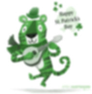 St. Patrick's Day Tiger - art by April Hartmann -This work is available for licensing. Please contact for more information.