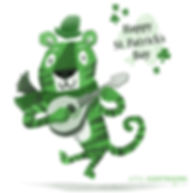 St. Patrick's Day Tiger - art by April Hartmann -This workisavailablefor licensing.Please contact for more information.
