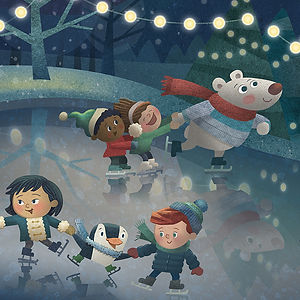Winter Night Skating - art by April Hartmann - This work is available for licensing. Please contact for more information.