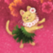 Aloha Cat - art by April Hartmann - This work is available for licensing. Please contact for more information.
