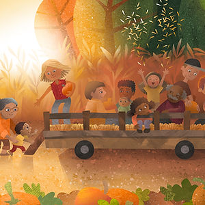 Fall Pumpkin Farm - art by April Hartmann - This work is available for licensing. Please contact for more information.