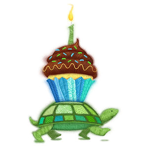 Birthday Turtle - art by April Hartmann - Conceptual art for a Birthday Card. This art is available for licensing. Please contact for more information.