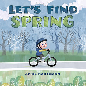 Let's Find Spring - art by April Hartmann - What are the earliest signs of spring? Buds on the trees, or maybe a warm soft breeze? Let's take a ride and search for spring. This character and story are available for publication. Please contact for more information.