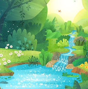 Hyland's Woodsy Background - art by April Hartmann - illustration for animation.
