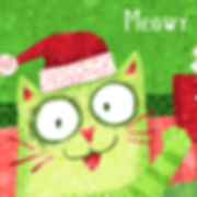 Meowy Christmas Cat - art by April Hartmann - Decorative Christmas art for greeting card, cookie box, gift bag.