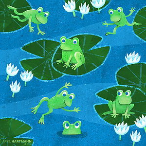 Hop, Skip and Jump - art by April Hartmann - Have you ever seen so many animals bouncing around? Frogs, rabbits, crickets and kangaroos play a game of leap frog from one page to the next. These characters and story are available for publication. Please contact for more information.