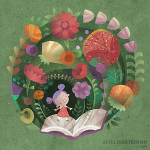 Book Blooming - art by April Hartmann -This work is available for licensing. Please contact for more information.