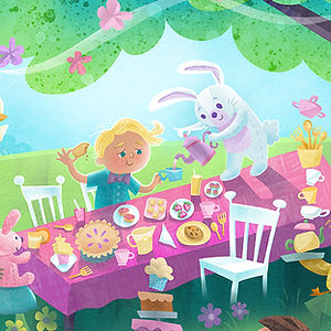 Enchanted Spring Picnic - art by April Hartmann - This work is available for licensing. Please contact for more information.