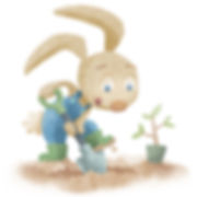Bunny Digging - art by April Hartmann - This work isavailable for publication or licensing.Please contact for more information.