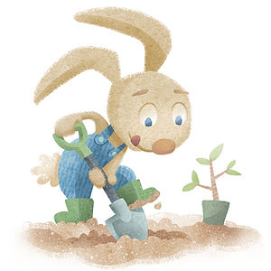 Bunny Digging - art by April Hartmann - This work is available for publication or licensing. Please contact for more information.