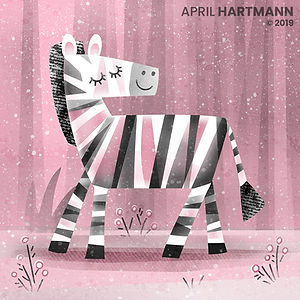 Pink Zebra - art by April Hartmann - This work is available for licensing. Please contact for more information.