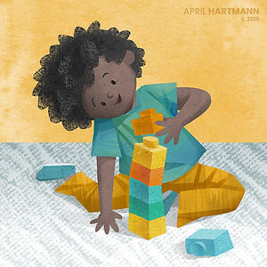 "I am a Builder - art by April Hartmann - ""I am"" Board Book series. This story is available for publication. Please contact for more information."